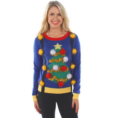 Women's Ugly Christmas Tree Sweater with Suspenders by Tipsy Elves - Ugly Christmas Sweaters
