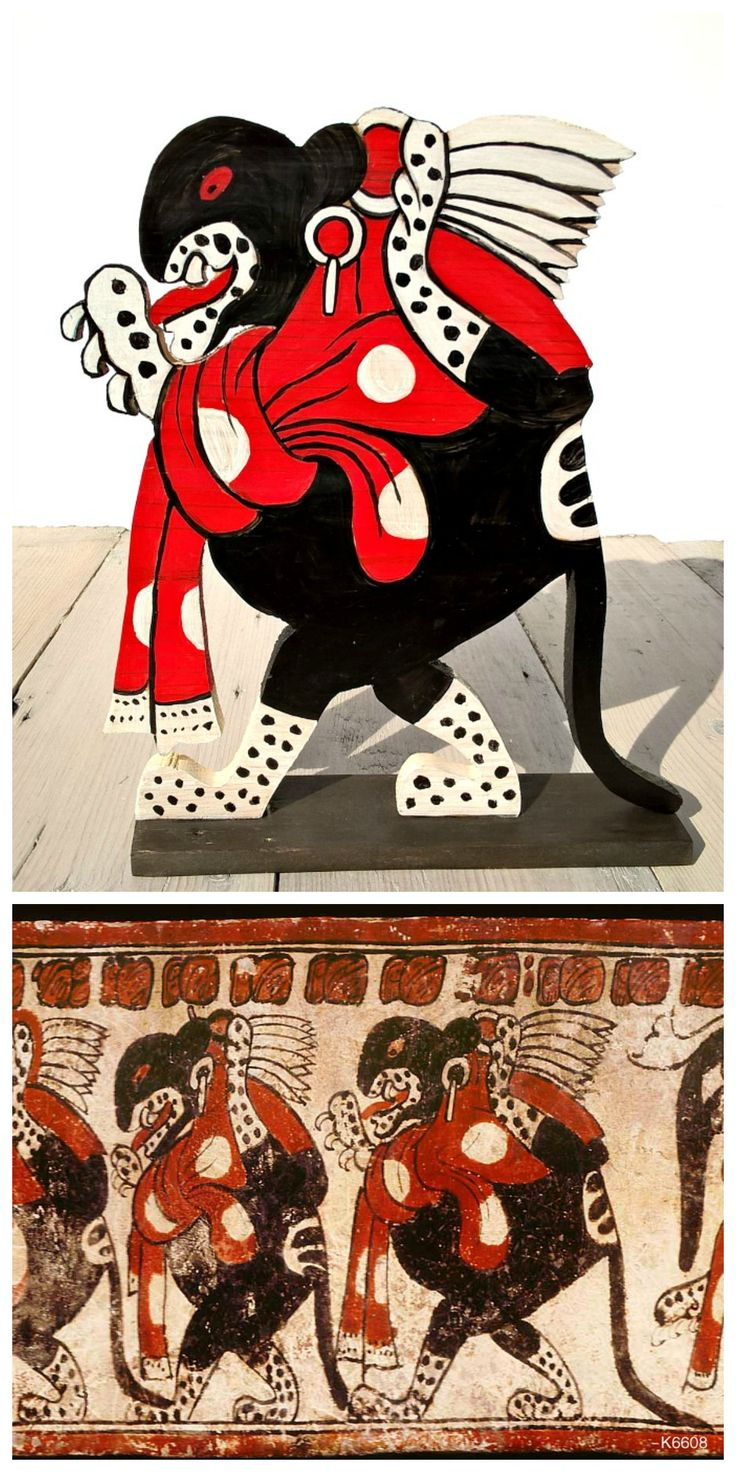 Among the many depictions of jaguar on Mayan ceramics that I particularly liked.  Made of recycled wood, of course