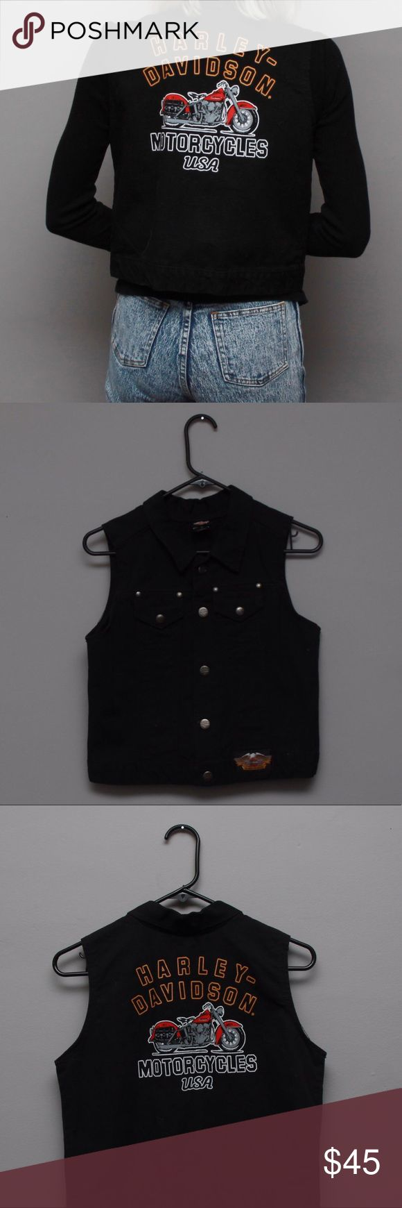 Harley Davidson Motorcycles black denim vest Harley Davidson Motorcycles black denim vest  Harley Davidson buttons all throughout and a patch on the bottom  The back is not embroidered, so don't be mistaken it appears to be an iron on but it's original Harley Davidson   Size 14 it would fit small-medium   Awesome piece! Harley-Davidson Jackets & Coats Vests