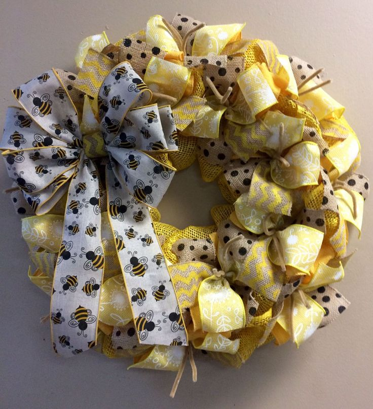 Wreath it! Honey Bee Burlap Wreath Wall Hanging - Made with out patent pending Wreath it! base