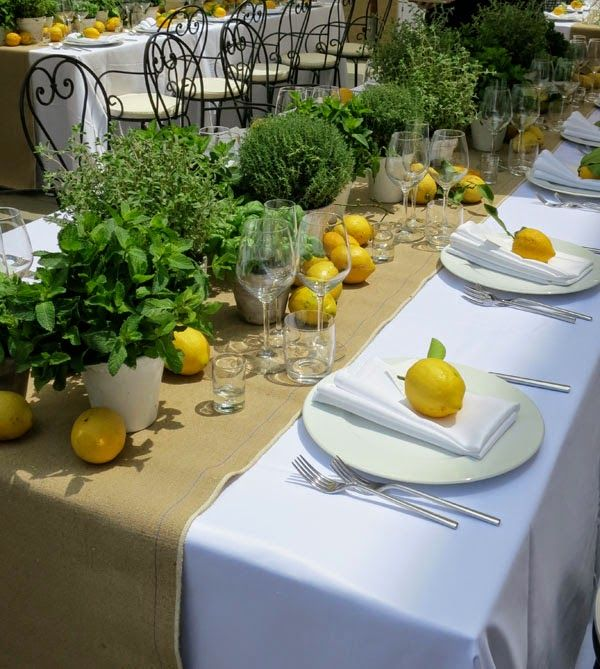 Purple Area Brllopslunch I Florens Lemons And Herbs As Table Decor