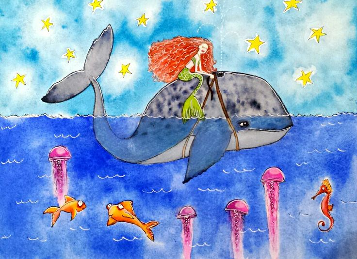 A whale of a time... By Shelley Wilson. #whimsical #illustration #colourful #painting #watercolour