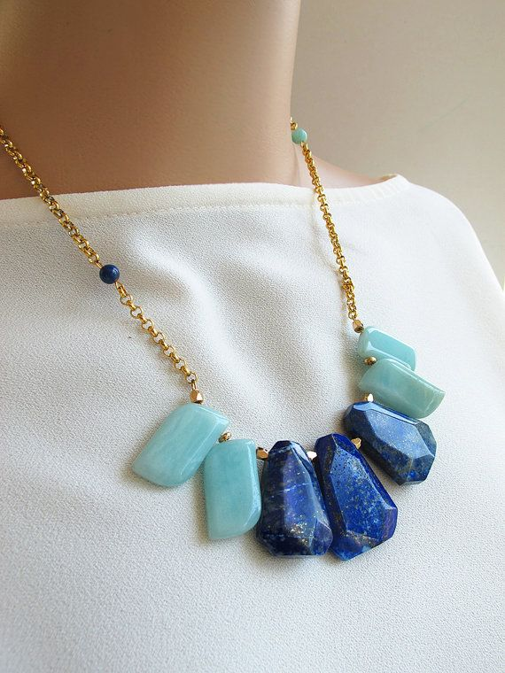 Natural #lapislazuli stone and cyan #amaznoite leaves necklace, candy color gemstone #collarnecklace, 24 K #gold chain, FREE shipping #highquality #affordable #freeshipping #bead #beads #gem #gems #gemstone #gemstones #jewelry #jewellery #jewelrymaking #jewelrysupplies #jewelrysupply #etsy #farragem #design #designer #handcrafted #handmade #ring #necklace #earrings #bracelet #pendant