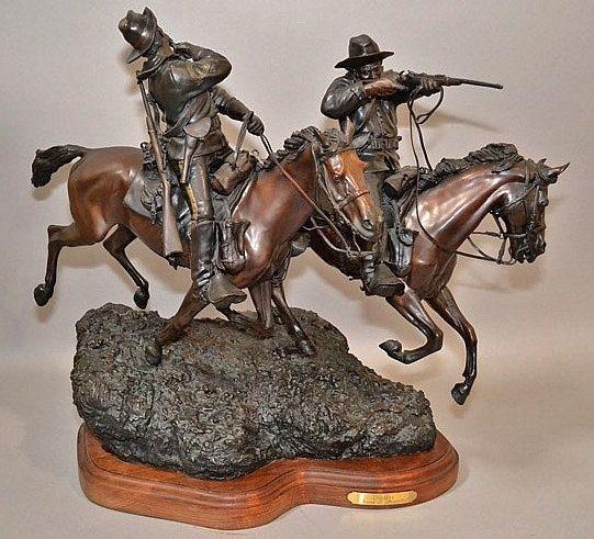 Western Art : Spectacular Western Bronze Sculpture Entitiled
