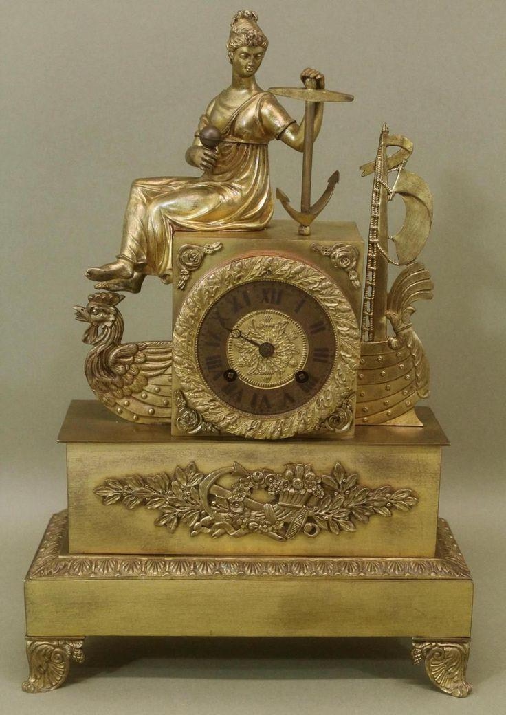 French Empire Dore Gilt Bronze Nautical Figural Clock: 1st quarter, 19th cent.:  maker unknown