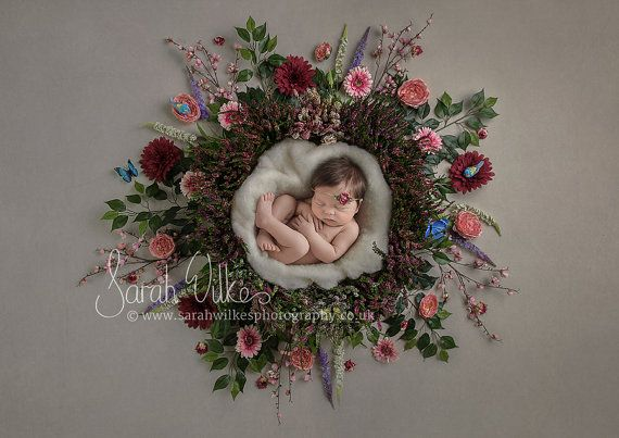Digital Photography Backdrop. Especially designed to help streamline your Newborn session and add variety to your clients gallery. Heather Flower Nest This Digital backdrop is very easy to use! You must have basic understanding of photoshop, layers and masks! The photo is taken