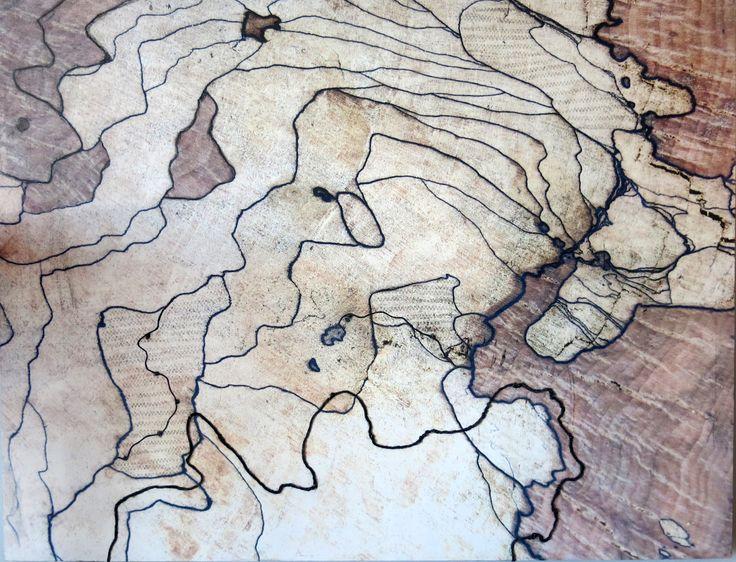 Le fil d'Ariane I. Techniques mixtes.  Composition numérique transférée sur bois, fils, collage. Format 30 X 40