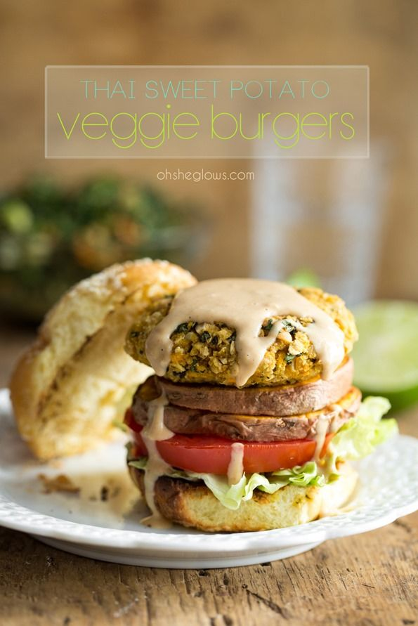 Thai Sweet Potato Veggie Burgers with Spicy Peanut Sauce — Oh She Glows