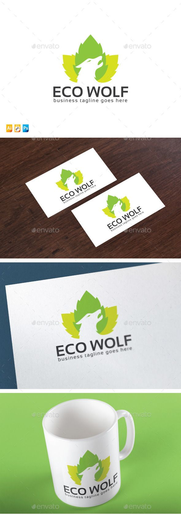 Eco Wolf by fand Logo Template Feature100 Scalable Vector FilesEditable VectorResizable VectorEasy to Edit Color / Textwith Black & White Version