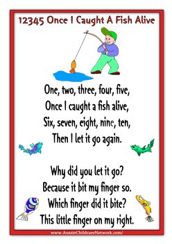 12345 Once I Caught A Fish Alive Nursery Rhymes 2 Pinterest Preschool And Songs