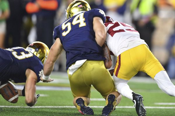 Oct 21, 2017; South Bend, IN, USA; Notre Dame Fighting Irish linebacker Drue Tranquill (23) dives on a live ball following a Notre Dame punt attempt against USC Trojans cornerback Jack Jones (25) in the second quarter at Notre Dame Stadium. Mandatory Credit: Matt Cashore-USA TODAY Sports