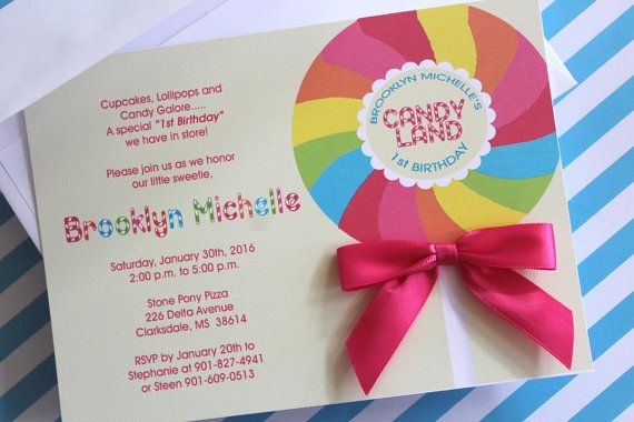 "Karla Listing 30 Lolli Bow CandyLand Invitations with white 5 x 7"" envelopes and satin bows 1.33 each"
