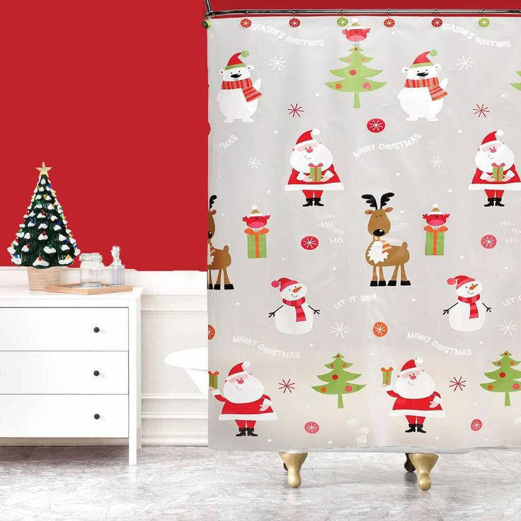 Ho Ho holidays shower curtain is a 100% PEVA frosted shower curtain. The shower curtain features adorable Santas, snowmen, polar bears, Christmas Trees and reindeer. The shower curtain is a frosty white color and it's very easy to clean, just grab a damp cloth and wipe clean. Also made from PEVA (polyethylene vinyl acetate) and EVA (ethylene vinyl acetate) shower curtains are toxic-free, chlorine-free, pvc -free, odorless and eco-friendly. Features:-Color Frosty Clear -Santa Claus, Snowmen…