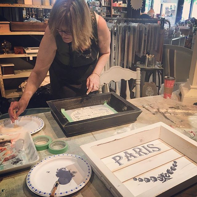 Happening now. Our Tray Stenciling Workshop is on today. #createabeautifullife #langley #workshops #anniesloan #chalkpaint #stenciling #tray
