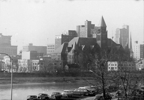 Steele High School viewed across the river in 1955.
