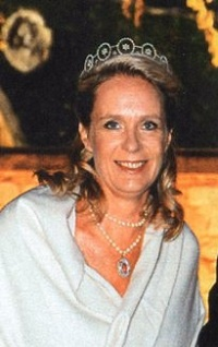 Desiree de Hohenzollern in a tiara by the Swedish jeweler C F Carlman - worn by Princess Birgitta of Sweden on the eve of her civil wedding with Prince Hans-Georg of Hohenzollern in 1961, Stockholm.