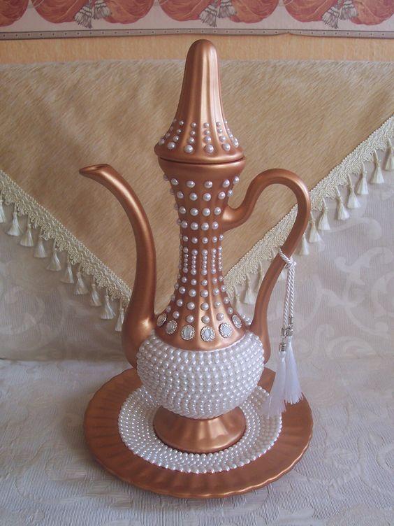 Konvička na čaj * bronzem smaltovaný porcelán, zdobený bílými perlami - svatební * Turecko ♥♥♥