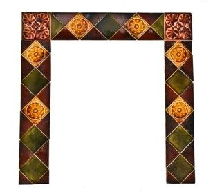 intact late 19th century victorian era residential fireplace majoica tile fireplace surround
