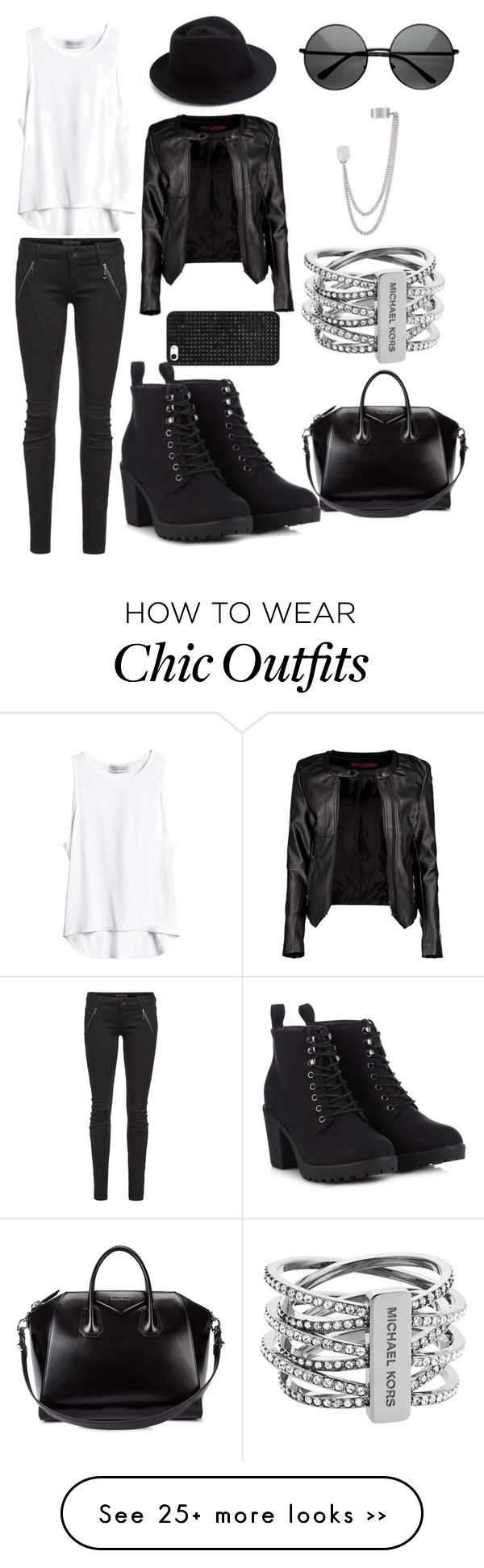 """""""Rocker chic . This edgy look is perfect for fall"""" by liyaalston on Polyvore featuring Boohoo, Givenchy, Michael Kors, French Connection, Letitia, Call it SPRING, Eugenia Kim and BaubleBar"""