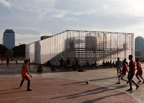 Indonesian open-air cinema by Csutoras & Liando created from scaffolding and plywood | 2015 interior design ideas