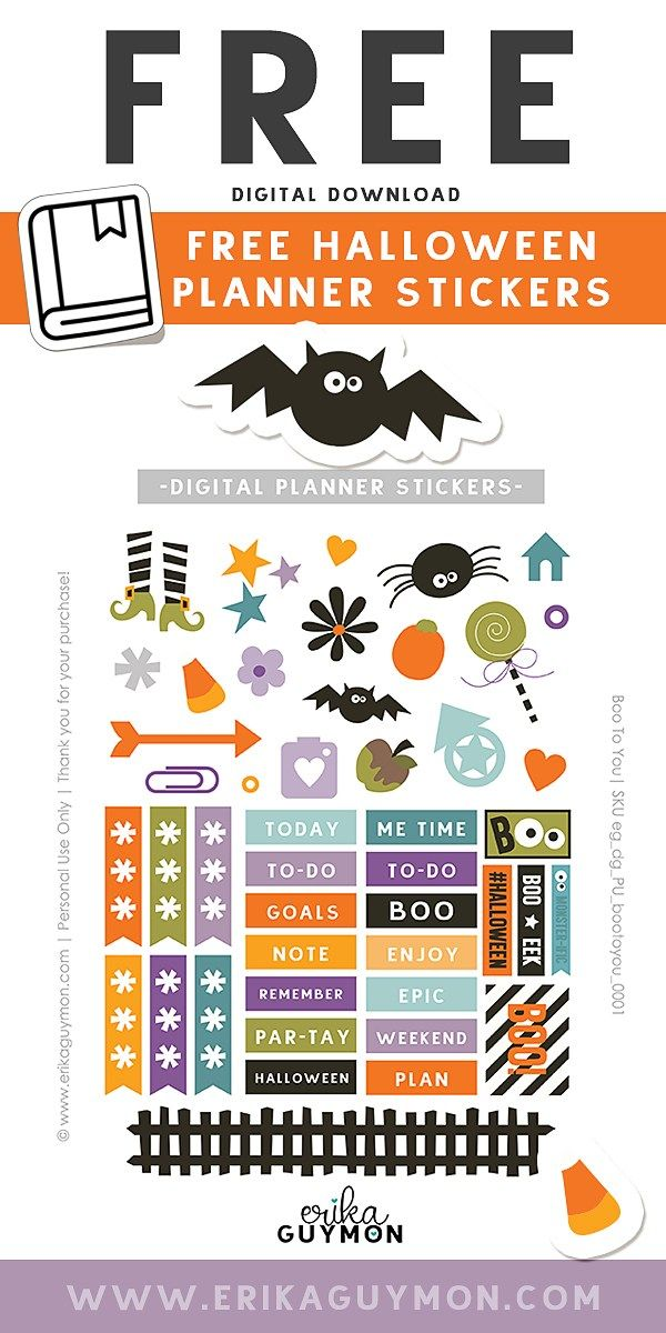 picture relating to Halloween Stickers Printable named Free of charge Electronic Halloween Planner Stickers PLANNER