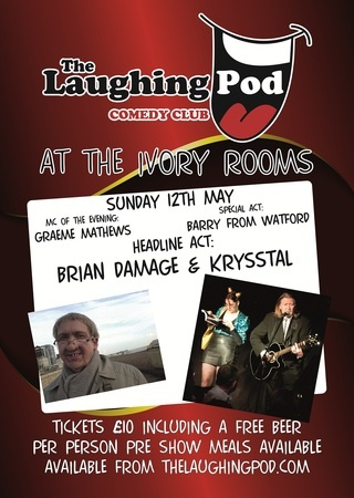 The Laughing Pod Billericay@The Ivory Rooms.  Sunday May 12 at 6:30 pm to 10:00 pm.  Get your self down to The Ivory Rooms Sunday Nights for Great Comedy Nights Provided by The Laughing Pod Comedy Club.  Price: £10  Inquiries: http://atnd.it/10WXfyb  Facebook: http://atnd.it/17B0ZKN  Booking: http://atnd.it/10WXfOp  Artists / Speakers: Patrick Morris, Ian Smith, Barry from Watford, brian damage and Krysstal.  The Ivory Rooms, 66-68 Laindon Road, Billericay, CM12 9LD