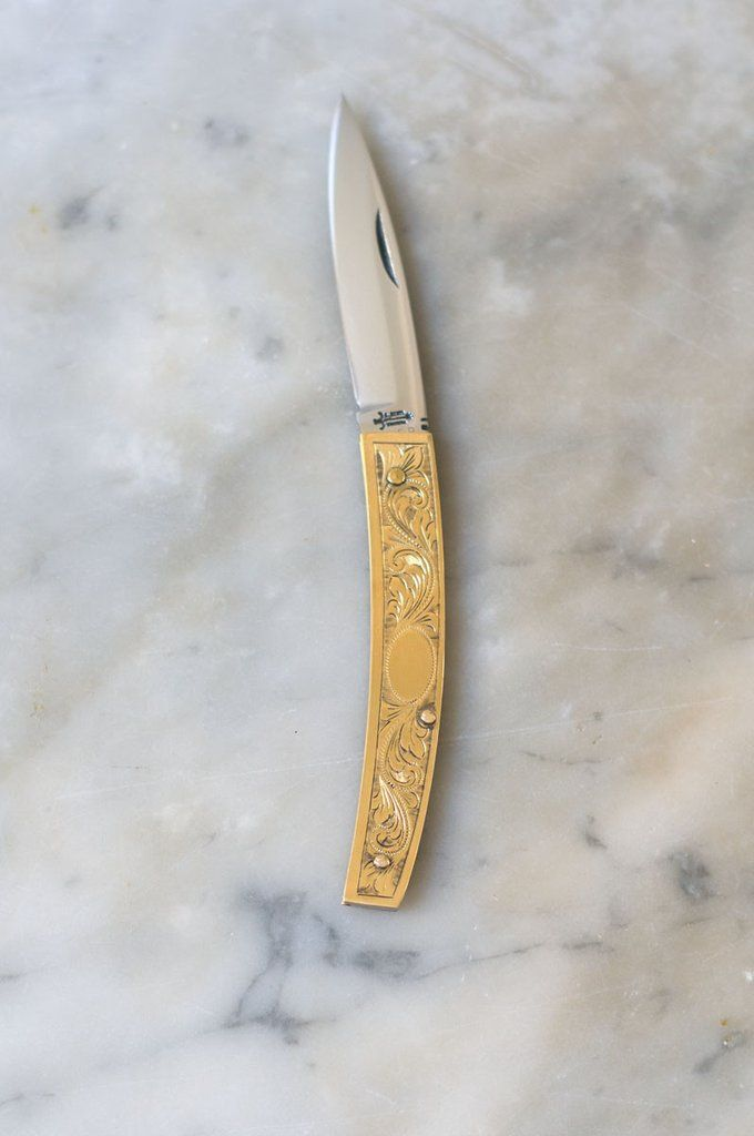 Coltellerie Berti Brass Gobbo - This exquisite etched brass folding knife, with its straight blade and curved handle, is modeled after the knives of central Italy. - from QUITOKEETO.com