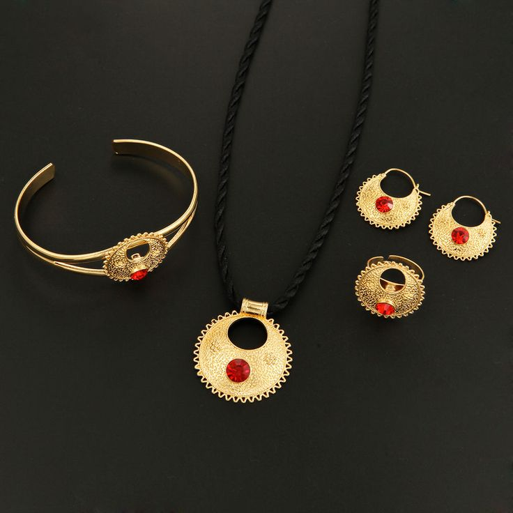 Cute Rhinestone Ethiopian Jewelry 24K Gold African Ethiopian Wedding Jewelry Set #BRGoldJewelry