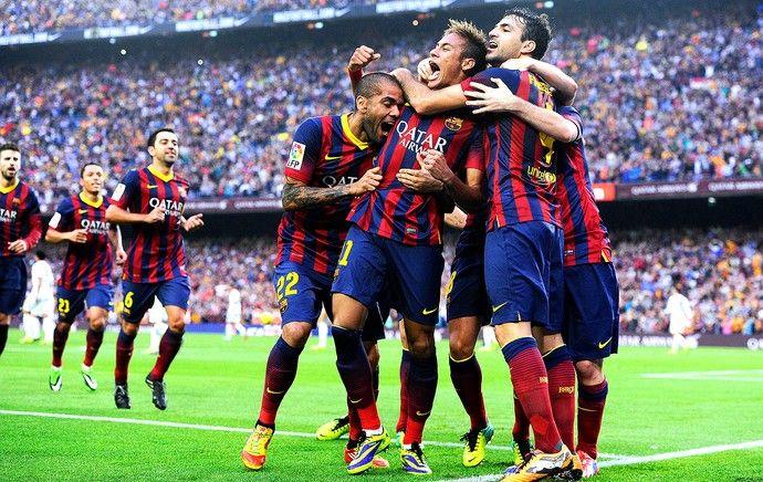 Neymar comemoração gol do Barcelona jogo Real Madrid (Foto: Getty Images)