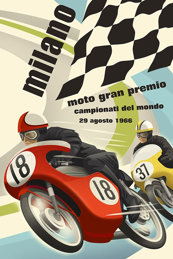 Retro style Italian motorcycle racing poster by Michael Crampton.