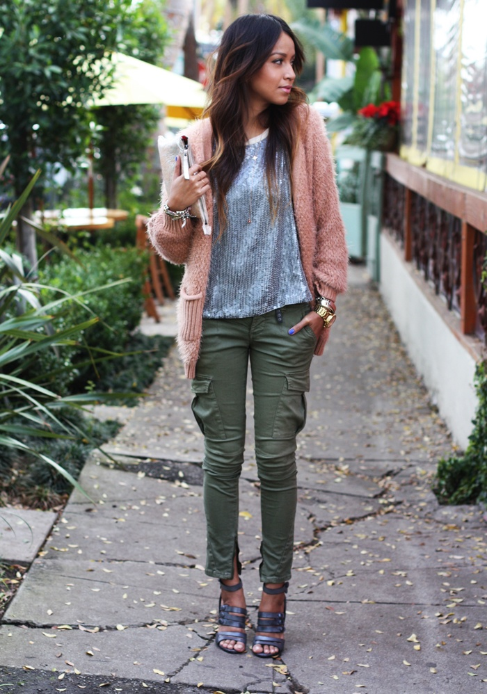 pink sweater, green jeans (or camo) and sequins cream top, gray open toed shoes