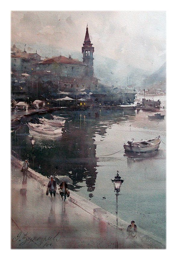 Dusan Djukaric Rainy day in Perast, watercolor, 36x55 cm