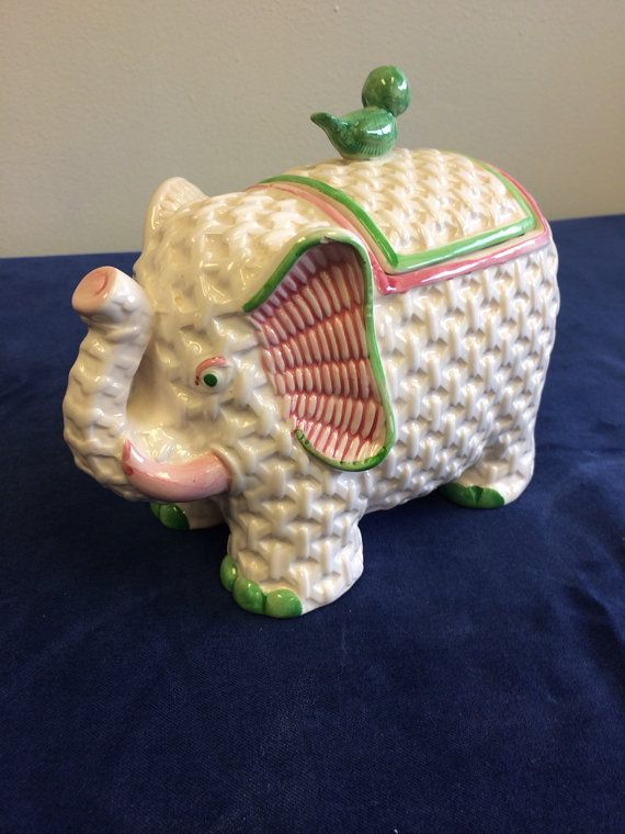 Vintage elephant cookie jars by parkerkennedyliving on Etsy, $80.00