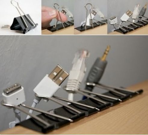 Handy Home Organization - inexpensive idea to keep wires handy.