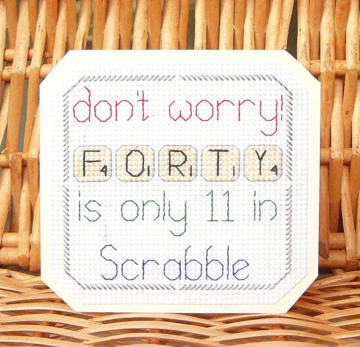 30th, 40th, 50th 60th 70th, 80th & 90th Scrabble Birthday Card⭐️Cross Stitch Kit | eBay