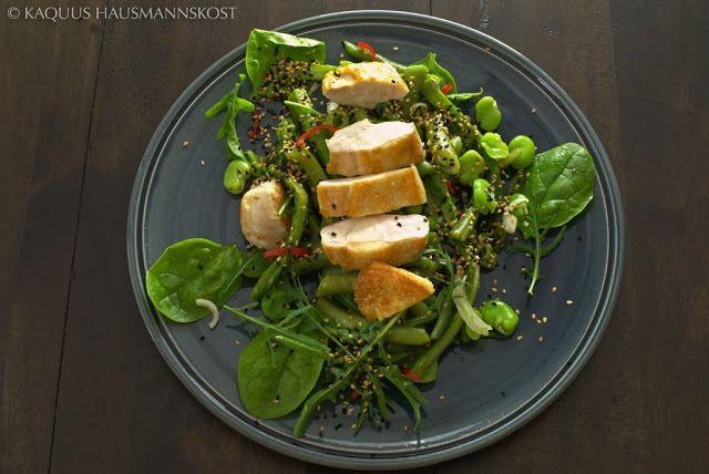 KAQUUS HAUSMANNSKOST: 38°C : grüner Sommersalat mit Huhn