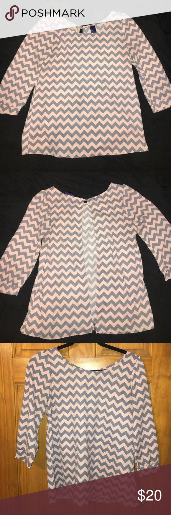 Francesca's Chevron Blouse Francesca's Pink/Grey Chevron Blouse. 3/4 Sleeve and split back with button closure on top and bottom. Francesca's Collections Tops Blouses