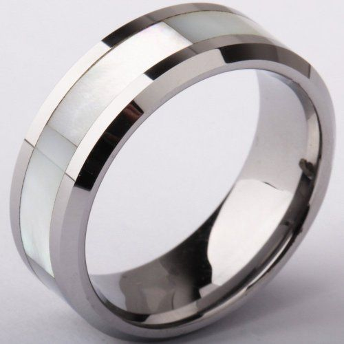 8mm Tungsten Carbide Rings Wedding Engagement Band White Shell Inlay Size 9 -14.5: Jewelry