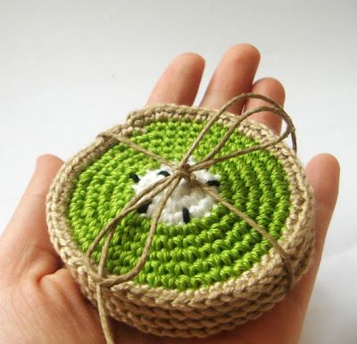 kiwi crochet coasters. Would be a cute housewarming gift!