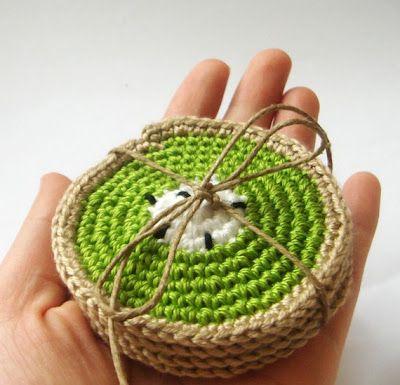 kiwi crochet coasters