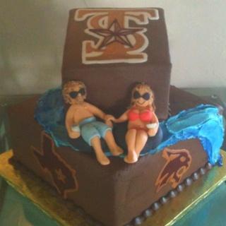 """Floating the river"" Texas State Bobcat grooms cake granburycakes.com"