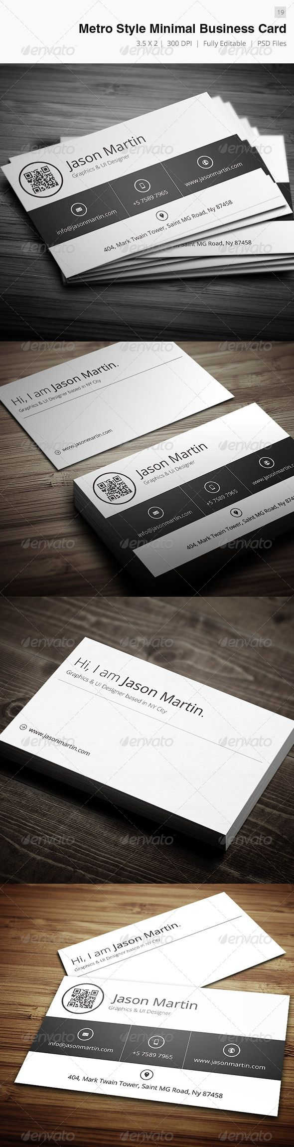 Metro Style Minimal Business Card - 19 #GraphicRiver Business card – perfect for any idustry. Features. 300 DPI CMYK Print Ready! - Full Editable, Layered you can find fonts here: Open sans – .google /webfonts/specimen/Open+Sans please dont forget to rate it. Created: 12December12 GraphicsFilesIncluded: PhotoshopPSD Layered: Yes MinimumAdobeCSVersion: CS2 PrintDimensions: 3.5x2 Tags: attractive #beautiful #brand #cmyk #color #cool #creaitve #designer #developer #executive #freelancer #hd…