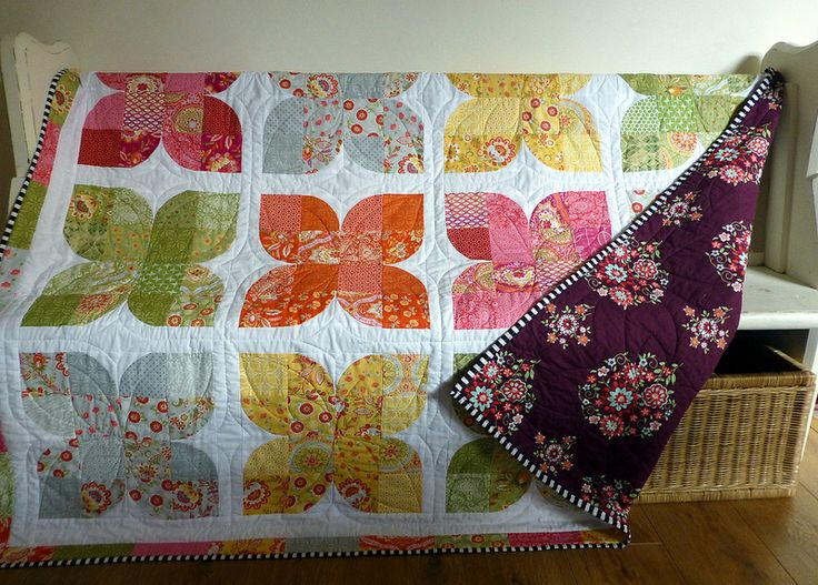 Retro Butterflies in Lily Ashbury; drunkards path;  (High Street) (pattern available by Just Jude Designs, Etsy)