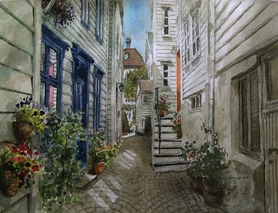 Kunstneren i Bergen: Akvarell fra Dynnersmauet i Bergen