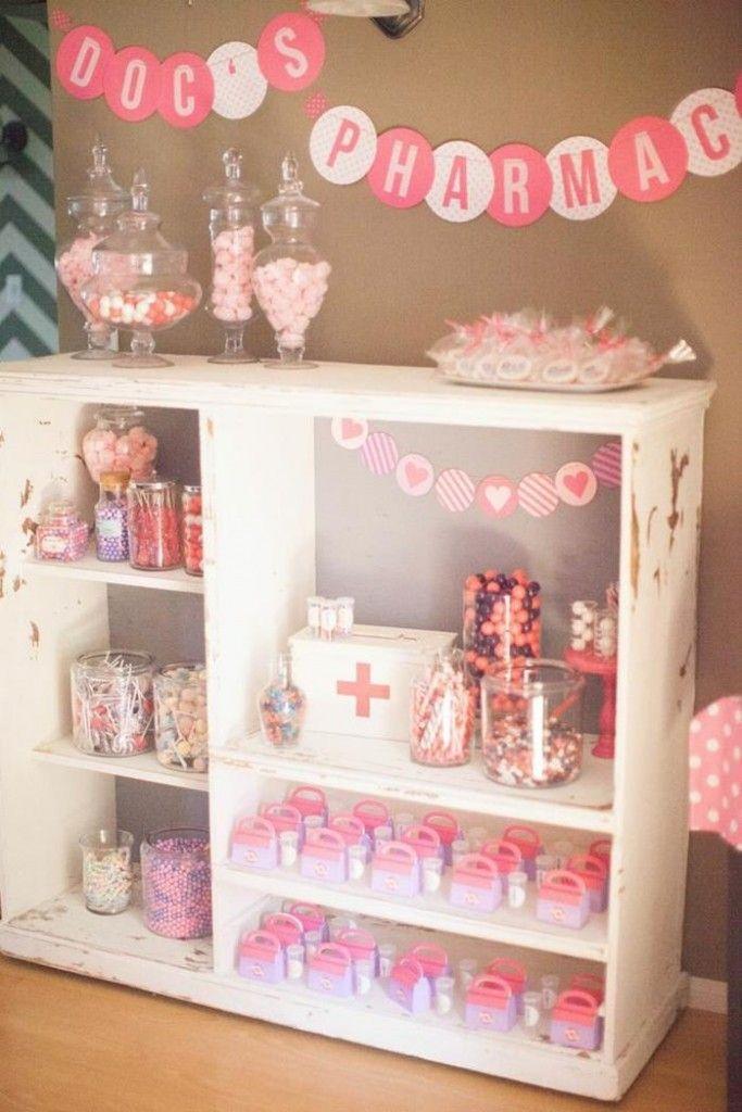 kara party ideas. doc's pharmacy of sweets!