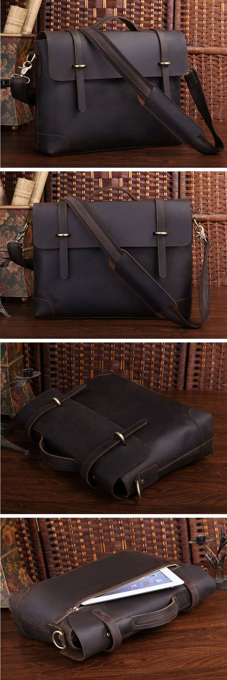 "Crazy Horse leather Briefcase Laptop Messenger Ipad 14"" 15"" Laptop 15"" Macbook Tote Bag"