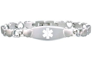 The delicate, Eternity Medical ID Bracelet is now available in Stainless Steel! Encircled with hearts, this bracelet perfect for any woman or girl.