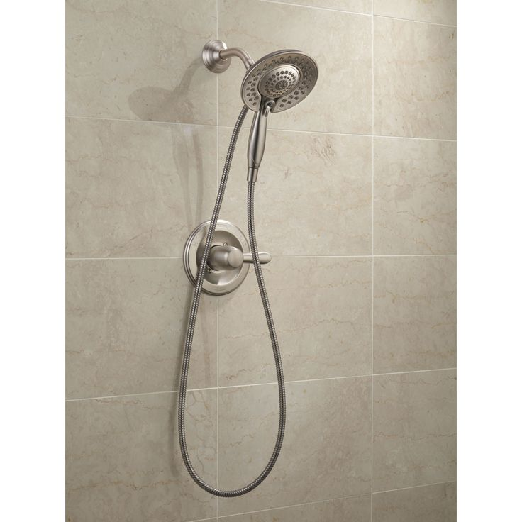 Delta Stainless Steel Finish Lahara Shower Control with Valve, Shower Arm, Shower Flange, and In2ition 5-Setting Two-in-One Handshower Package D083CR