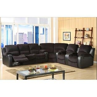 complete the look of your living space with this dynamic tyson microfiber reclining sectional set the set includes the sofa wedge and reclining loveseat