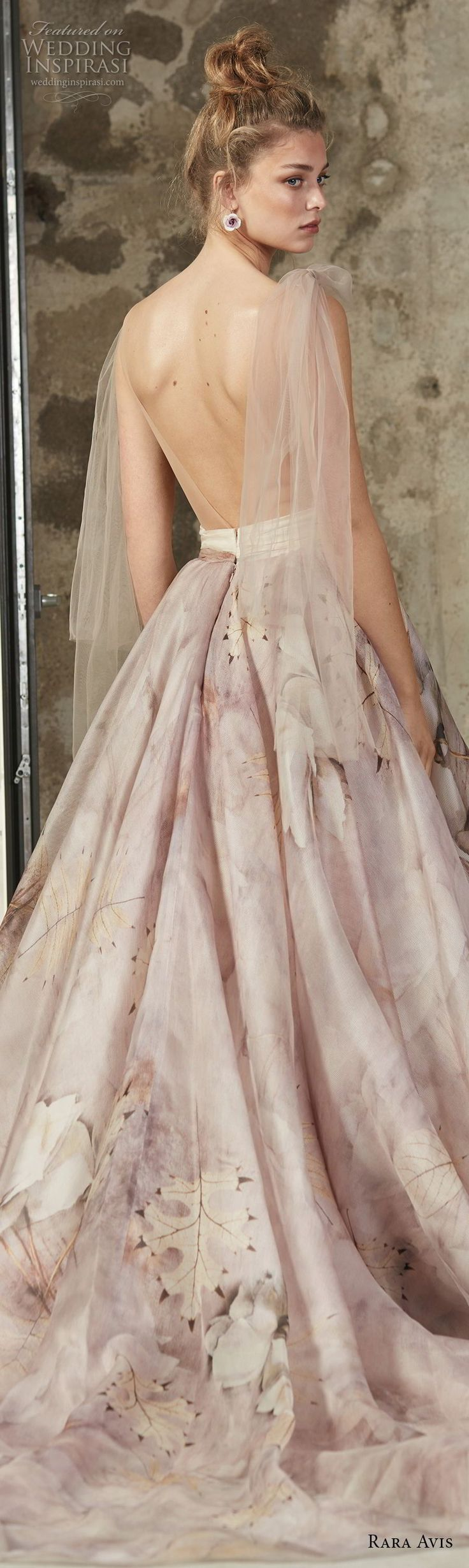 rara avis 2017 bridal sleeveless deep v neck unembellished floral printed romantic pastel purple a line wedding dress open back medium train (7) blv -- Rara Avis 2017 Wedding Dresses